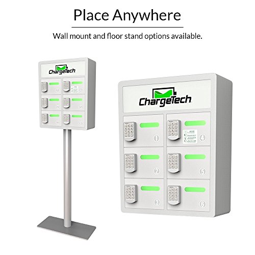 Secure Cell Phone Charging Locker w/ 6 Digital Combination Locking Bays & Universal Charging Tips Included for All Devices - By ChargeTech - (Model: PL6) [Black] by ChargeTech (Image #3)