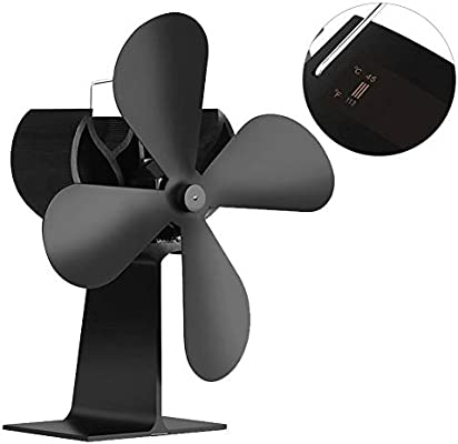 Lacyie Ventilador de Estufa de 4 Palas con monitoreo de Temperatura, Funcionamiento silencioso Ventilador de ...