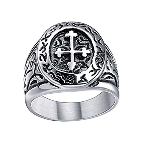 TIGRADE Men's Vintage Two Tone Heavy 316l Stainless Steel Cross Ring Size 7-13 (10)