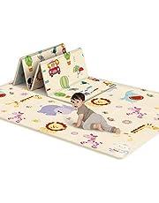 LAKIOMZ 180 x 100 x 1 cm babyförtjockning mjuk matta tecknad vikbar lekmatta XPE skum krypmatta barn lek aktivitet halkfri matta