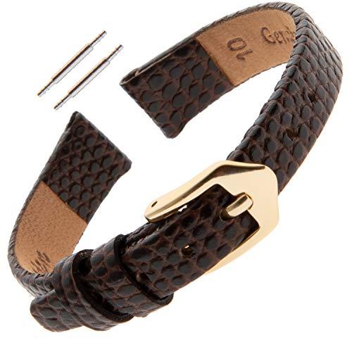 10 Watch Band Mm (Gilden 10-14mm Ladies Flat Lizard-Grain Calfskin Leather Watch Strap F40-0210 (10 Millimeter end Width, Brown, Gold-Tone Buckle))