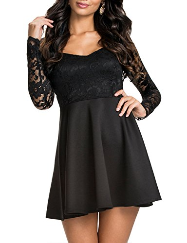 NuoReel Women's Lace Bodice Skater Dress (XXX-Large, Black)
