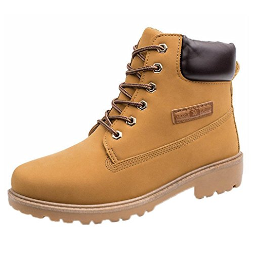 LHWY Klassische Mode Schuhe Herren Herbst Winter Warm Martin Stiefel Rutschfeste Riemen Stiefeletten Gelb