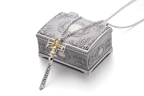 (DA VINCI CODE Bank Key Silver/Gold Plated Pendant Necklace US Seller (Necklace w/ Jewelry Box))