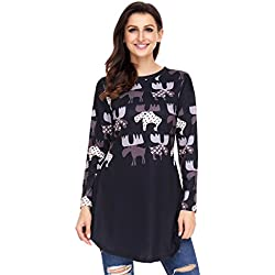 Fengguilai Women's Cartoon Reindeer Print Mauve Christmas Blouse Fashion Top Fe-LC250594-top-Navy blue-M