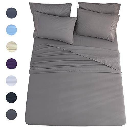 California king 6-Piece Bed Sheets Set Microfiber 1800 Thread Count Percale | 16 Inch Deep Pockets | Super Soft and Comforterble | Wrinkle Fade and Hypoallergenic(California King, Dark -