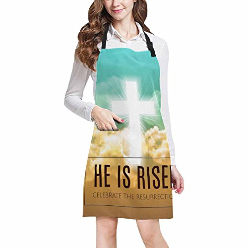 InterestPrint Christian Religious Design Easter He Is Risen with Cross Unisex Adjustable Bib Apron for Women Men Girls Chef for Cooking Baking Gardening Crafting, Large - Easter Apron