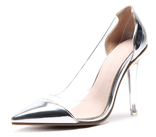 SHOWHOW Women's Elegant Clear Pumps - Closed Pointed Toe High Heels - Slip On Silver 8 B(M) US