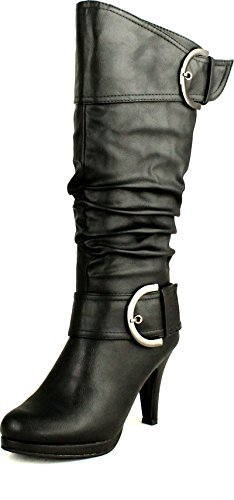 Top Moda Womens Page-22 Knee High Round Toe Buckle Slouched Low Heel Boots, Black, 8