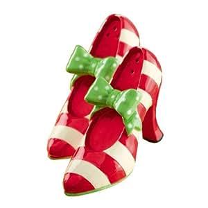 Fabulous Chris Miss Salt & Pepper Shakers Green Bow Shoe Pump Grasslands Road