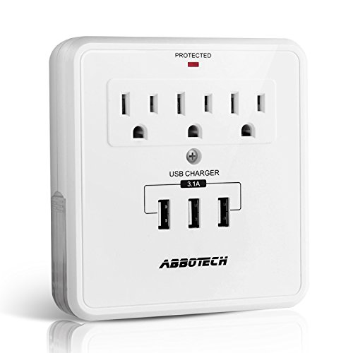 Multi Outlet Wall Adapter Tap With USB Charger,AbboTech Wall Mount Surge Protector With 3AC Outlets And 3USB Charging Ports,2 Slide-Out Phone Holders,White,ETL Certified