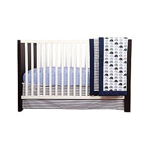 Bacati – Elephants Blue/Grey 10-Piece Nursery in a Bag Boys Crib Baby Bedding Set with 2 Crib Sheets 100% Cotton Fabrics