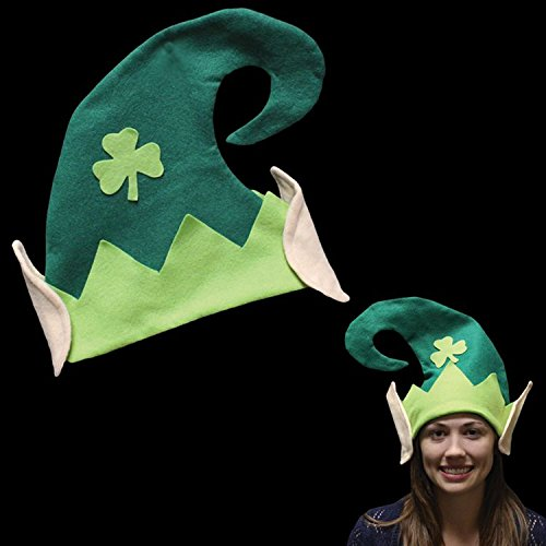 Green Leprechaun Hat (Festive Felt St. Patrick's Day Leprechaun Elf Party Hat, Green/Beige, One Size, 13