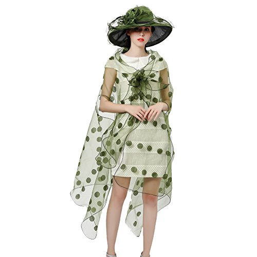 (June's Young Women Race Hats Organza Hat with Ruffles Feathers (Green dot))
