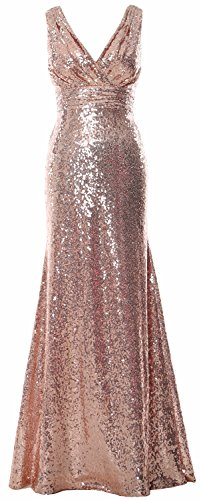 Gown Party Evening Women V Formal Bridesmaid Rose MACloth Maxi Gown Gold Sequin Neck gqZIvnw