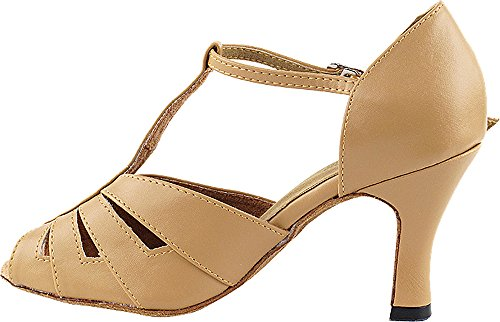 Women's Ballroom Dance Shoes Tango Wedding Salsa Dance Shoes Beige Brown 2702EB Comfortable - Very Fine 2.5'' Heel 6 M US [Bundle of 5] by Very Fine Dance Shoes (Image #3)