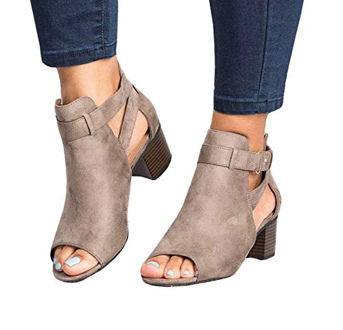 - Ruanyu Womens Peep Toe Booties Cutout Ankle Strap Buckle Heeled Summer Sandals