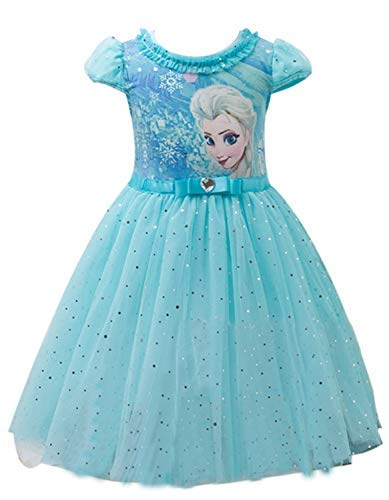 Eyekepper Kids Children Girls Cartoon Elsa Princess Cosplay Mesh Bubble Dress Blue]()