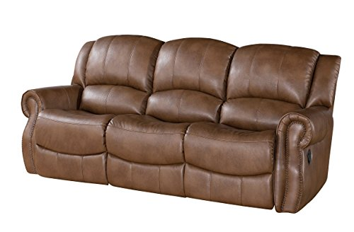 Abbyson Beckett Reclining Leather Sofa, Mesa Camel -