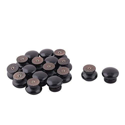 uxcell Wood Household Round Wardrobe Cupboard Door Handgrip Pull Knob 17pcs Black by uxcell
