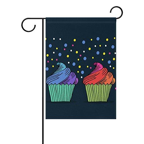 "LEISISI Hand Drawn Cupcake Garden flag 12""X18"" Two Sided Yar"