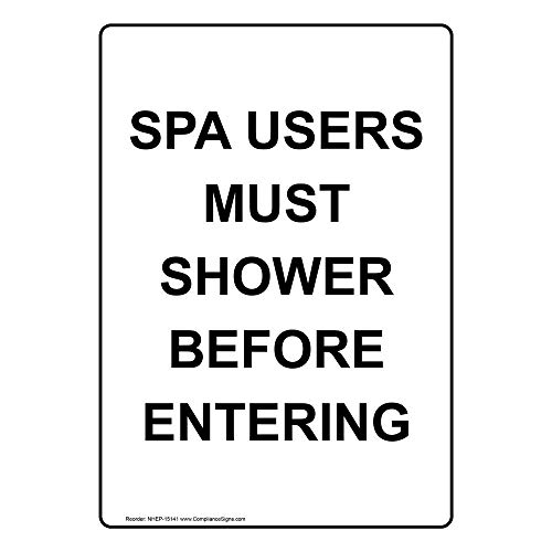 Spa Users Must Shower Before Entering Label Decal, 5x3.5 in. 4-Pack Vinyl for Recreation by ComplianceSigns