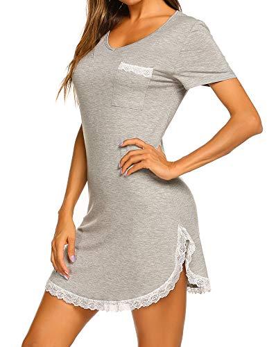 t Sleeve V Neck Nightgown Soft Sleeping Shirts Loungewear Nightshirts Light Grey L ()