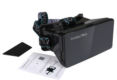 Favolcano Ritech Riem III PortillaProducts 3D VR Virtual Reality Headset Google Cardboard 3D Virtual Reality Headset for 3.5 to 5.6 inch Smartphone iPhone Samsung Note LG Nexus HTC Moto, Black