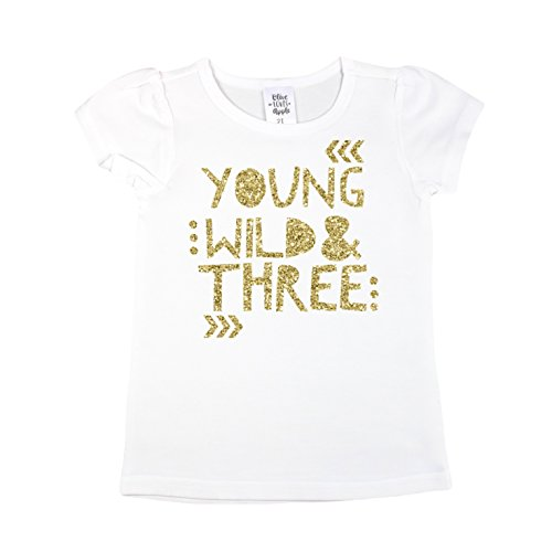 Olive Loves Apple 3rd Birthday Shirt for Girls Young Wild & Three Short Sleeve Puff Sleeve White Gold Shirt