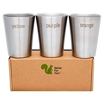 Better For Your - Stainless Steel Kids Cups Double Wall Small Tumblers - Set of 3 - 8oz (250ml) - Literal Color Range - yellow-purple-orange