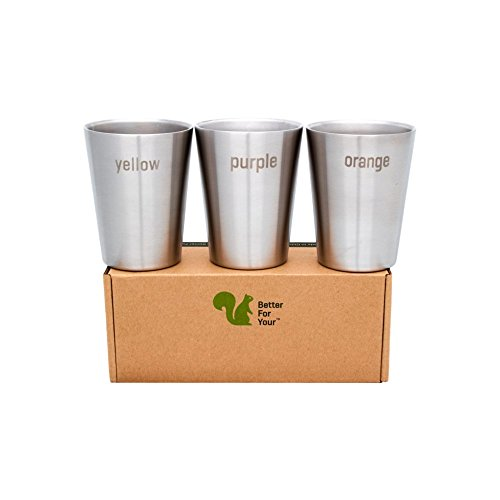 Etched Coffee Table (Better For Your - Stainless Steel Kids Cups Double Wall Small Tumblers - Set of 3 - 8oz (250ml) - Literal Color Range - yellow-purple-orange)