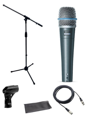Shure Beta 57a Microphone Bundle with Mic Boom Stand and XLR Cable by Shure