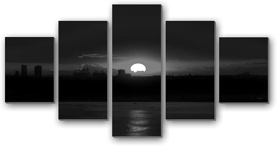Sunset at Istanbul-Turkey - Canvas Print Pictures 5 Piece Wall Art Stretched and Framed Artwork Home Decor Ready to Hang Posters and Prints(60''Wx32'H) Black and White
