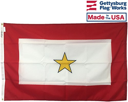3x5' Gold Star Service Star Mother's Flag, Durable All-Weather Nylon with grommets for Outdoors, Made in USA