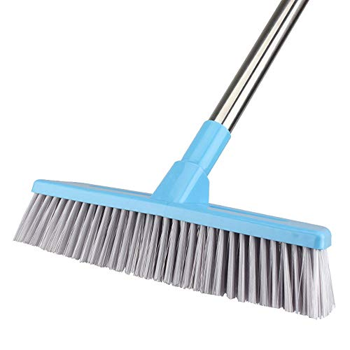 Floor Scrub Brush with Adjustable Long Handle - 51 inches, Stiff Bristles, Indoor Outdoor Broom for Cleaning Bathroom, Kitchen, Patio, Tile, Wall, Grout, Wood Floor, Carpet