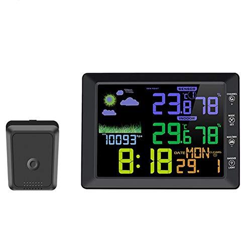 Estación meteorológica móvil con Despertador, Medir Temperatura Humedad barómetro para Oficina Aire Libre,Black