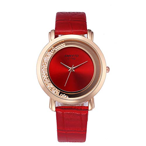 Watches for Women, Leather Band with Artificial Crystal Dial Wristwatch for Women, Dress Casual Quartz Wristwatch (Crystal Casual Watch Wrist)