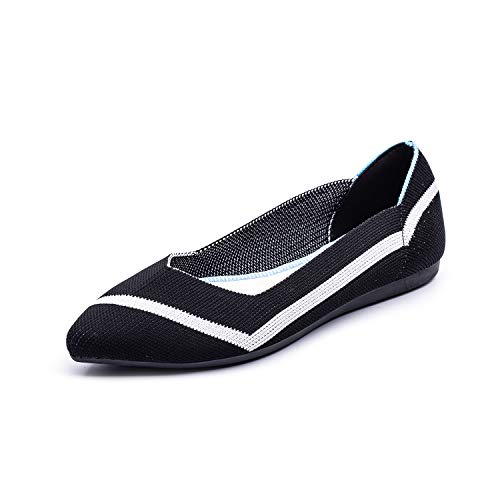 Women Loafers Flat Shoes Fly Knit Fashion Pointed Toe Ballet Shoes Slip On US 6.5 Black