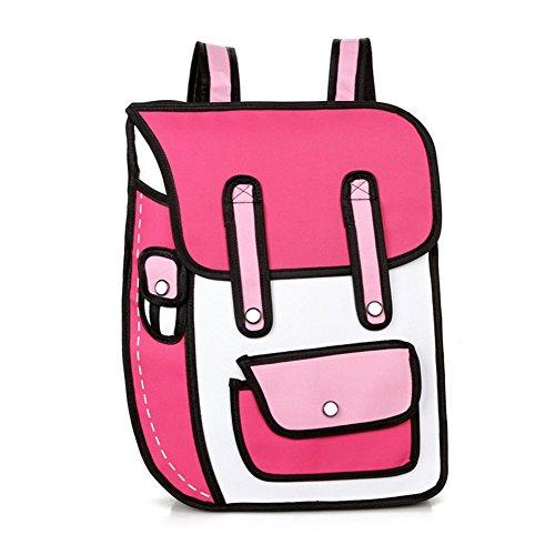 Aoibox Funny 3D Cartoon Backpack Students School Campus Bags Satchel Pink