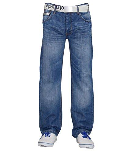 funda para Denim New Smith para cinturón sin Regular corte Wash Light Jones pantalones Jeans hombre amp; recto rígida HwzqExIz