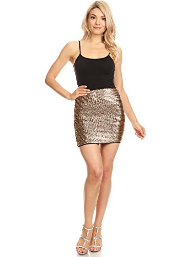 Anna-Kaci Womens Vegas Night Out Sleek Stretch Shiny Sequin Mini Pencil Skirt, Rose Gold, Large/X-Large