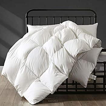 Image of Home and Kitchen APSMILE Hungarian All Season Goose Down Comforter - Ultra-Soft Pima Cotton, 750FP 40oz Medium Warmth Year-Round Duvet Insert (Full/Queen, White)