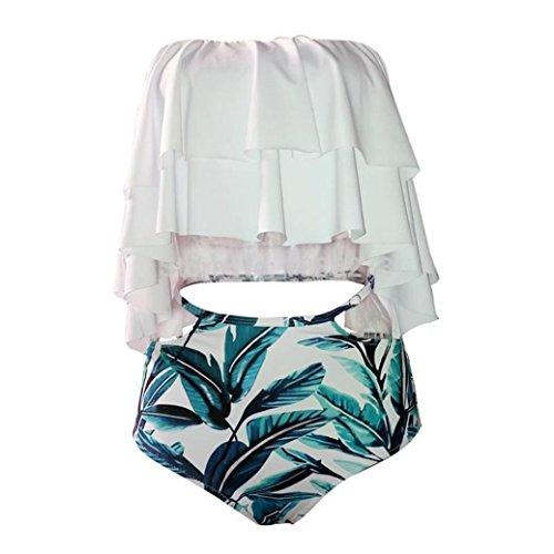 Paymenow Women Off Shoulder Ruffled Floral Printed Bikini Set Swimwear