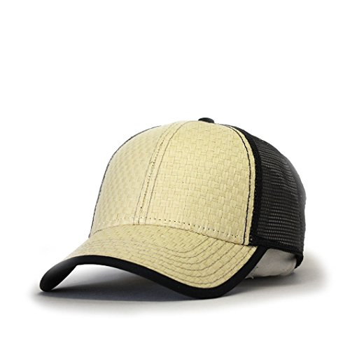 Cap Straw Cotton (Vintage Year Plain Two Tone Cotton Twill Mesh Adjustable Trucker Baseball Cap (Toyo Straw Khaki/Black))