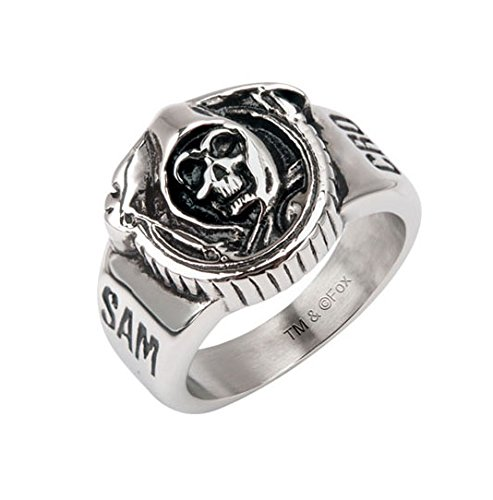 Sons Of Anarchy Grim Reaper Skull Stainless Steel Ring   Size 9