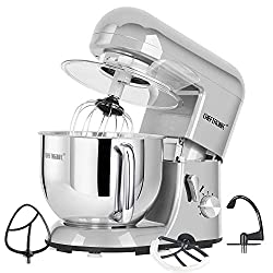 CHEFTRONIC Stand Mixer tilt-head 650W/120V Electric kitchen Mixer with 5.5QT Stainless Bowl, Wire whip, Dough hook, Flat beater, Flex edge beater splash guard …