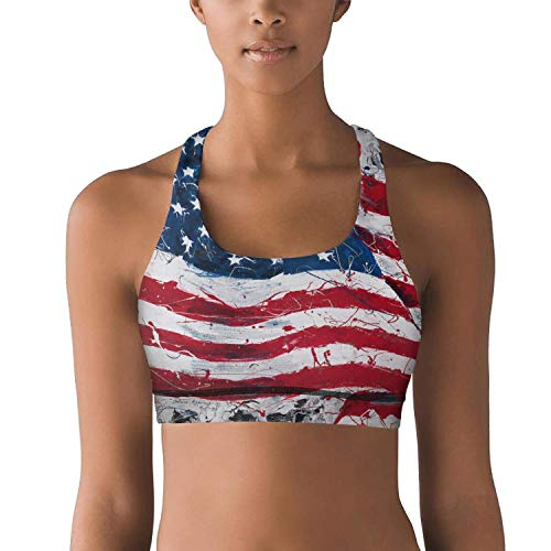 Godfer Arabe Women's Light Support Seamless Sports Bras with Removable Pads American Flag Art Yoga Bra