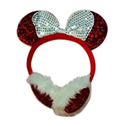 [Sequins Minnie Mouse Ears Headband Ear Muff Toddler Girls Costume Dressup (Red with White Bow)] (Crop Over Band Costumes)