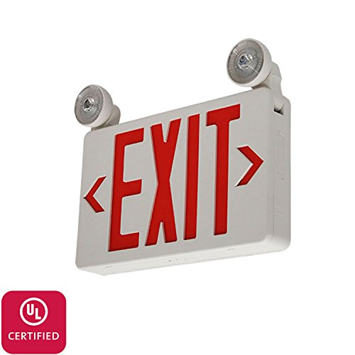 (LFI Lights - UL Certified - Hardwired Red LED Compact Combo Exit Sign Emergency Light - COMBOCR)