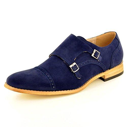 formelle pour Smart moine homme cuir Marine travail enfiler doublé Mariage à Pair Bleu Sangle en My Perfect Chaussures double Ew4BRqPv8